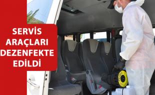 SERVİS ARAÇLARI DEZENFEKTE EDİLDİ